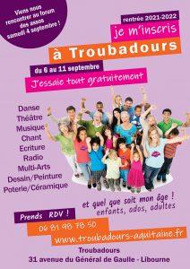 Essayez tout gratuitement ! Rentrée 2021-2022 @ Asso Troubadours | Libourne | Nouvelle-Aquitaine | France