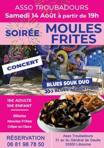 Soirée Moules Frites et concert  Blues souk @ Art'Kfé | Libourne | Nouvelle-Aquitaine | France